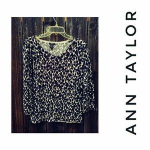 Ann Taylor Animal Print Cardigan L